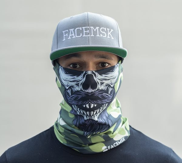 Green Military Bearded Camo Skull Face Shield
