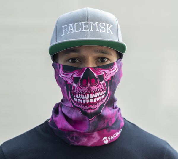 Smoking Pink Master Skull Face Shield - Face Mask