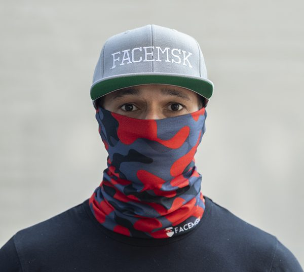 Fire Red Military Camo Face Shield - Face Mask