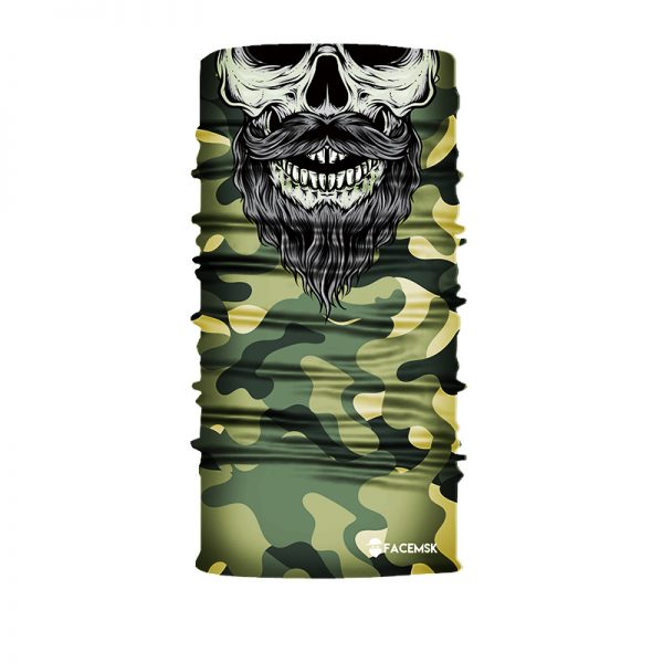 Green Military Bearded Camo Skull Face Mask - Face Shield