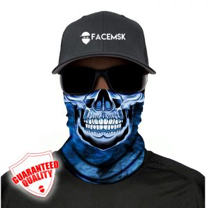 Smoking Blue Master Skull Face Mask - Face Shield