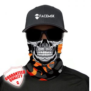 Orange & Grey Military Master Skull Face Mask - Face Shield